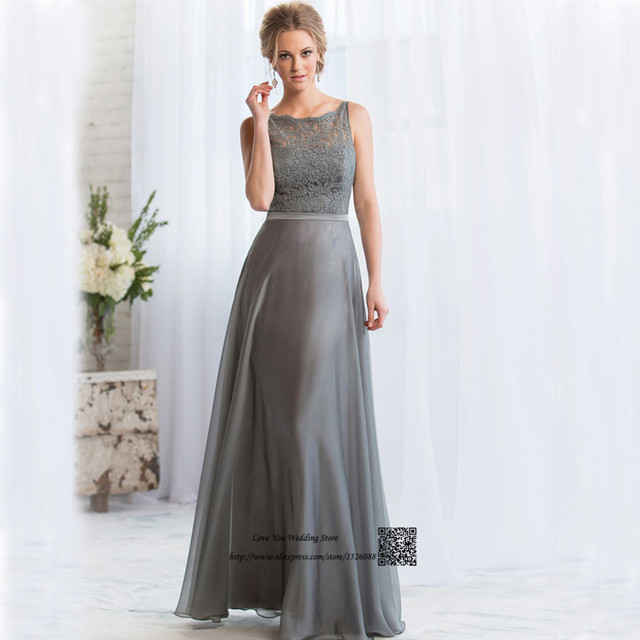 Buy gray long bridesmaid dresses lace for Backless wedding guest dresses