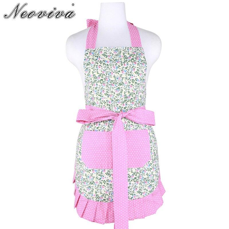 Neoviva Cotton Women Apron with Pocket for Housework Kathy Floral Alice's Secret Garden Waist Bib Housewif Aprons Menaje Vintage