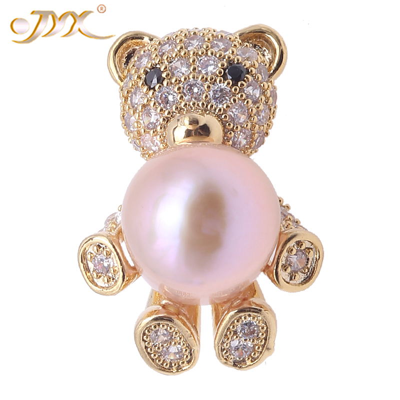 цена на JYX Pearl Brooch Jewelry Lovely Teddy Bear Shape Genuine 12mm Pink Cultured Freshwater Pearl Brooch