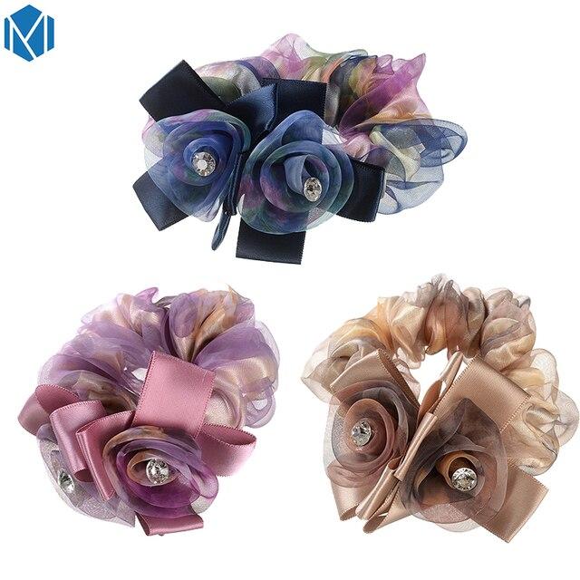 MISM Fantasy Flower Elastic Head Hair Band Accessories Elegant Women Ribbon Bow Headband Yarn Floral Crystal Hair Rope Gumming