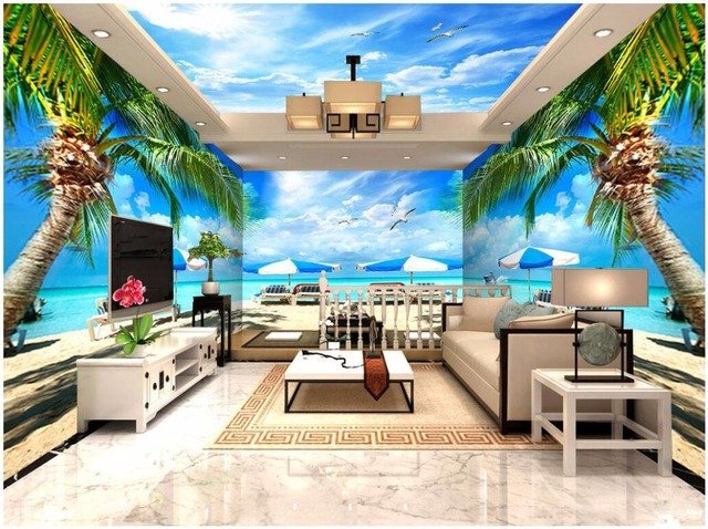 Custom 3 D Photo Wallpaper Wall Murals 3d Wallpaper Beach: Custom Mural Photo 3d Wallpaper Beach Coconut Tree Theme