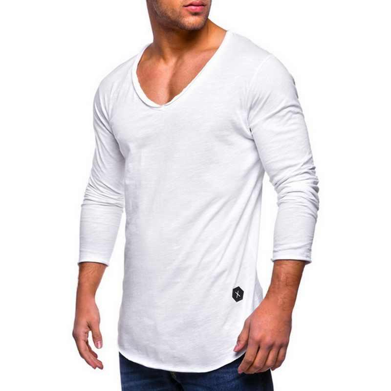Peak męska koszulka z długim rękawem Hot sprzedaży mężczyźni Torba Slim Top koszulki z krótkim rękawem wygodne proste z dekoltem w kształcie litery v bawełna męska jednolity kolor koszulek