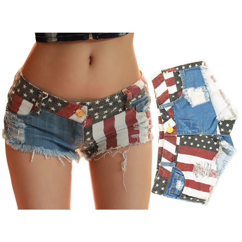Women Sexy Low Rise Denim Shorts Color Block American Flag Print Hot Shorts Distressed Ripped Tassels Summer Beach Mini Clubwear