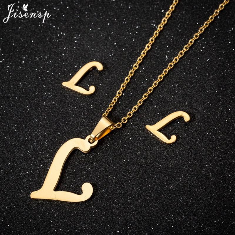 Jisensp Personalized A-Z Letter Alphabet Pendant Necklace Gold Chain Initial Necklaces Charms for Women Jewelry Dropshipping 25