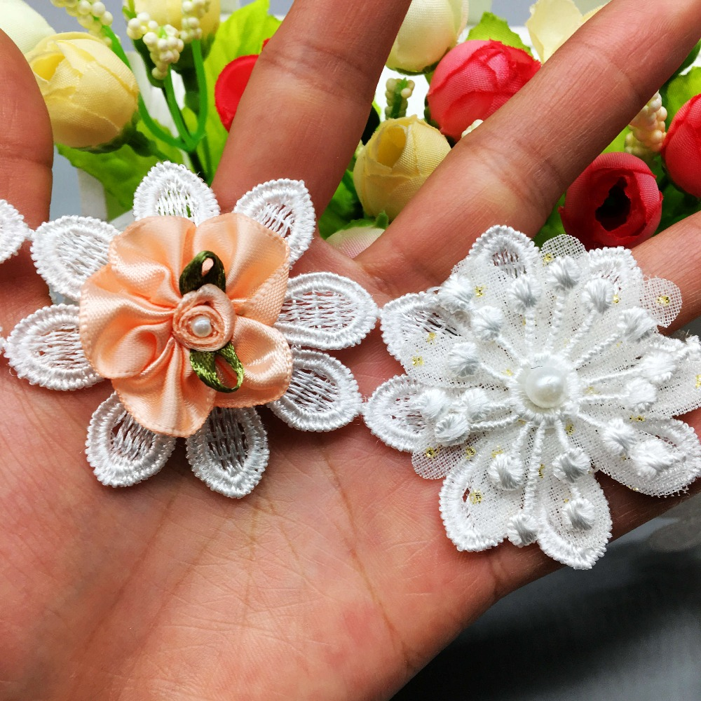 5pcs Flowers Pearl Lace Trim Vintage Butterfly Bow Leaves Ribbon Sewing Craft