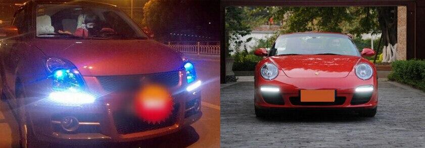 Автомобильный Стайлинг 1 шт. ультра яркий светодиодный дневные ходовые огни 17 см водонепроницаемый авто DRL COB водительские Противотуманные фары для bmw kia audi
