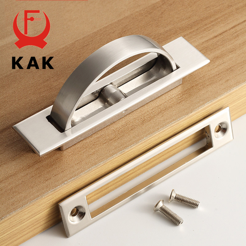 Silver Hidden Door Handles Spring Drawer Pulls Knob Invisibility Kitchen  Cabinet Handles And Knobs Embedded Furniture Handles