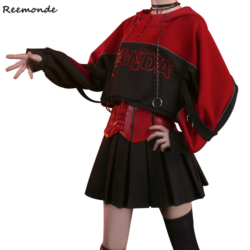 Fashion Suit Witch Cosplay Costume Black Top Hoodies Skirt Casual Wear Shoes Coat Full Set For Women Girls Party Stage Clothes