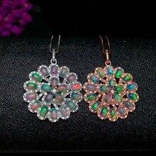 shilovem 925 sterling silver Natural opal Pendants send necklace fine Jewelry Christmas gift trendy wedding 3*5mm yhz030501ago