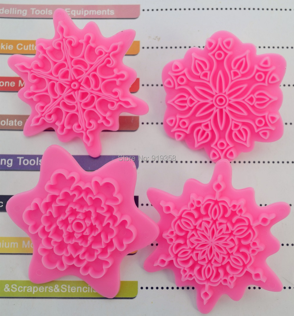 Lace Press Mold Biscuit Stamps Bakeware Fondant Sugarcraft Cookie Cutter 4Pcs//lot Plastic Cookie Stamps,Snowflake Flower Shape Cake Embosser Mould Baking Cake Decoration Tools Kitchen Supplies