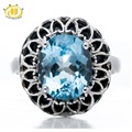 Hutang 5.65Ct Genuine Sky Blue Topaz Black Agate Real 925 Sterling Silver Cocktail Ring Brand New Gemstone Fine Jewelry