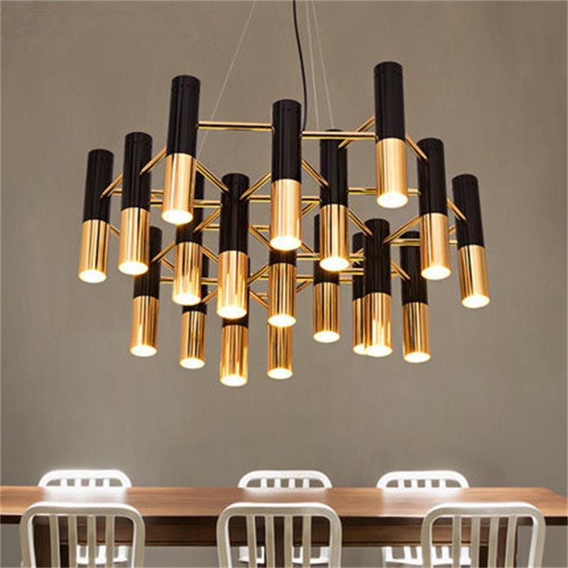 цена Delightfull black and gold metal aluminum tube chandelier lamp Italy modern design suspension light for dining restaurant