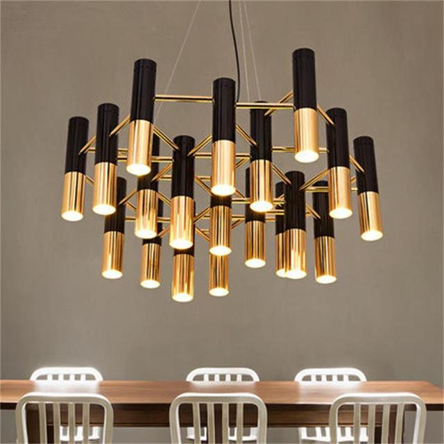 delightfull noir et or m tal en aluminium tube lustre lampe italie design moderne suspension. Black Bedroom Furniture Sets. Home Design Ideas