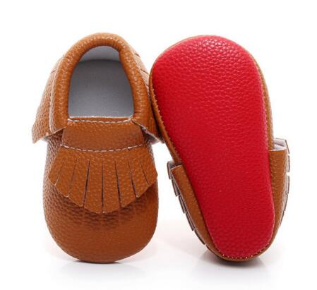 Hongteya red Bottom Baby Moccasin Newborn Baby Shoes soft sole fringe tassel PU leather gold Prewalkers for girls boys 0-2 Y