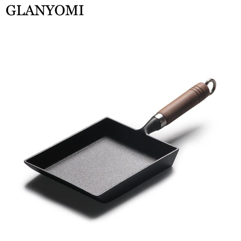 Bandeja de omelete japonesa engrossada/ovo pan antiaderente retângulo mini frigideira tamagoyaki ferro fundido pan