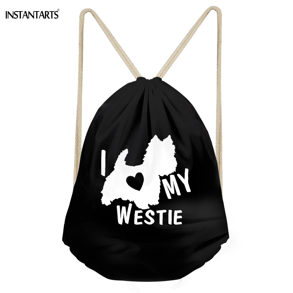 INSTANTARTS Funny I Love My West Highland White Terrier Dog Print Girls Boys Drawstring Black Westie Backpacks Children Sack Bag