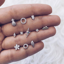 11 pcs/set Crystal pineapple Stars Geometry Small Sliver Stud Earrings for Woman Simple 2019 New Arrivel Set