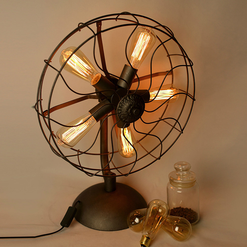 Antique bedroom lamps - Loft Electric Fan Shape Table Lamps American Country Vintage Iron Desk Lights 5 Heads E27 Edison