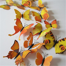 12PCS/lot 3d yellow Butterfly Fridge Magnets Sticker Room Wall Decoration Fast Shipping
