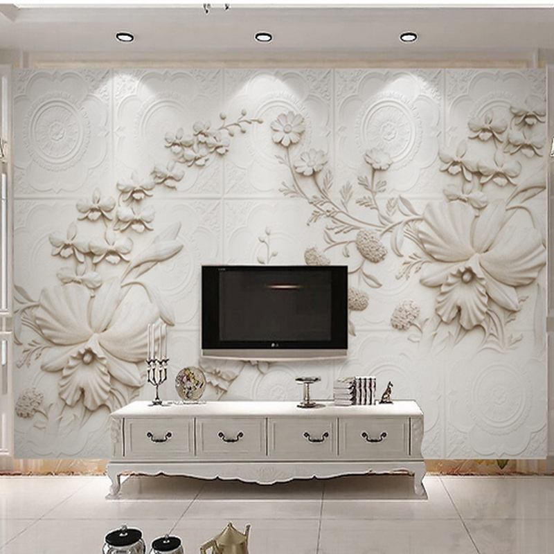 3D Wall Murals White European Style Orchid Flowers for Home Decoration TV Sofa Background Wall Living Room 3d Stereo Wallpapers the ivory white european super suction wall mounted gate unique smoke door