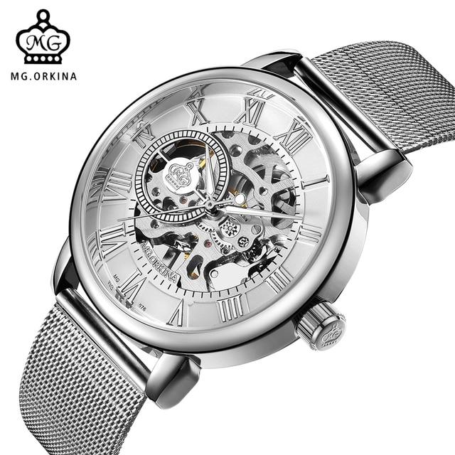اوركينا ساعة اليد الذكور الهيكل العظمي الهاتفي الميكانيكية ساعة اليد الرياح الرجال ساعات المعصم شبكة من الاستانلس استيل باند هيرين Armbanduhr