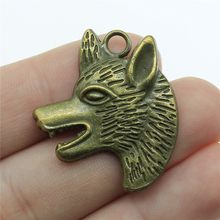 10pcs/lot 1.3x1.1 inch (33x29mm) Wolf Head Charms Pendant For Jewelry Making Antique Bronze Plated Alloy Charms(China)