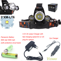 VICMAX 3x XM-L XML T6 LED 8000Lm 3T6 Rechargeable Headlamp Head light + 2x 18650 Battery + Charger + Car Charger