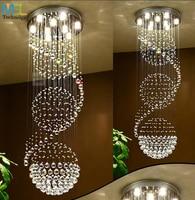 Modern LED Crystal Chandelier Ceiling Hanging Suspension Light Fixtures Luminaire Living Room Hall Villa Long Crystal Chandelier