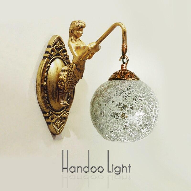 Free shipping Rustic bed vintage mermaid wall lamp led bathroom Lamps fashion mirror light Wall lights