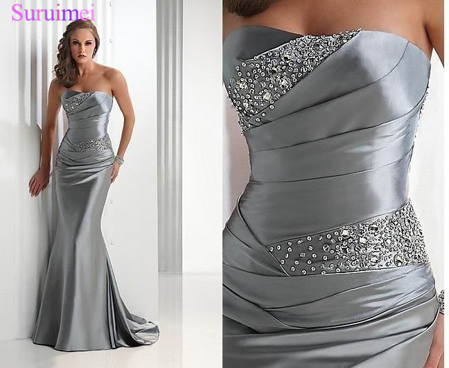 Mermaid Bridesmaid Dresses 2018 Long Silver Gray Vestido Madrinha Vestido Longo Corset Brides Maid Dress High Quality(China)