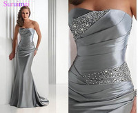 Mermaid Bridesmaid Dresses 2018 Long Silver Gray Vestido Madrinha Vestido Longo Corset Brides Maid Dress High Quality