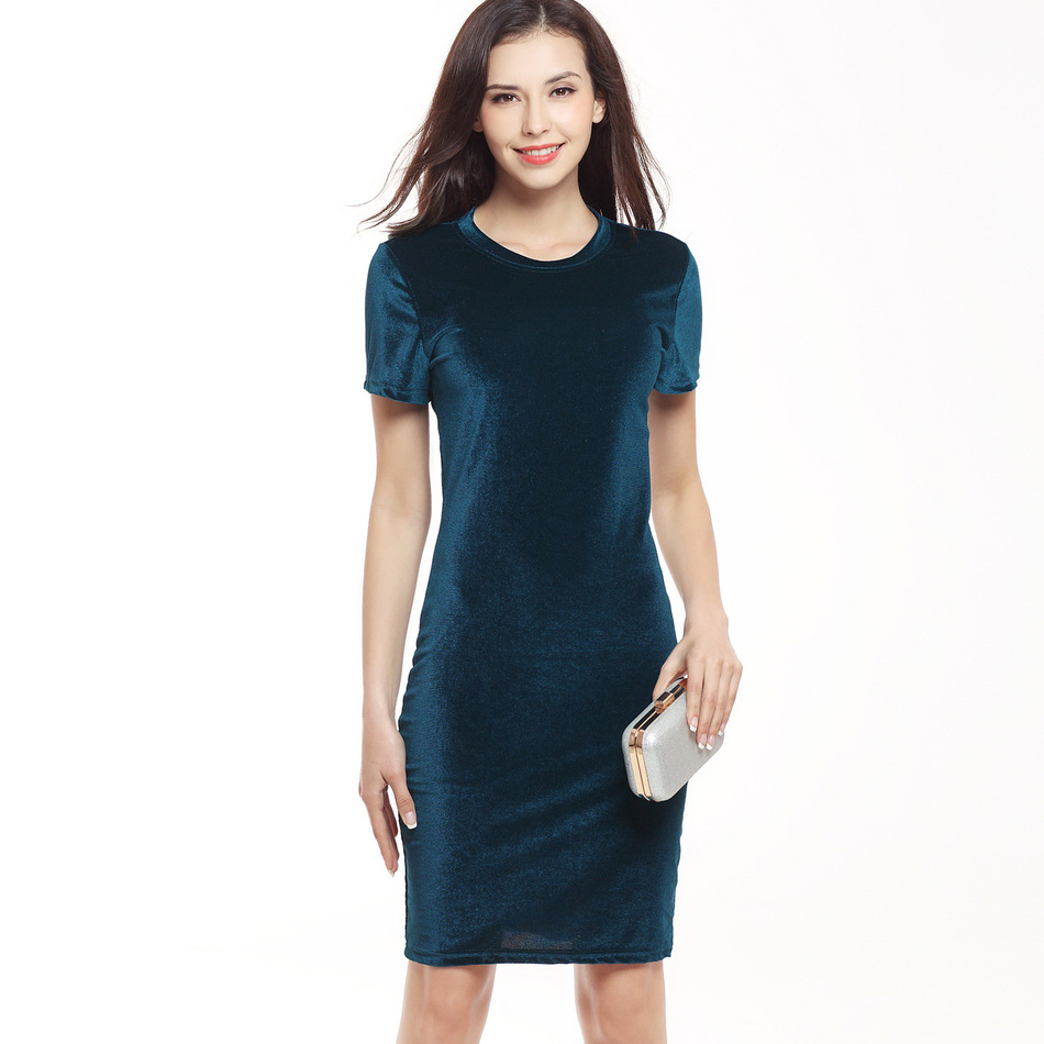 VITIANA Brand Women Velvet Sheath Dress Grøn Sort O-Neck Short Sleeve Slim Pencil Office Work Wear Knæ Længde Kjoler