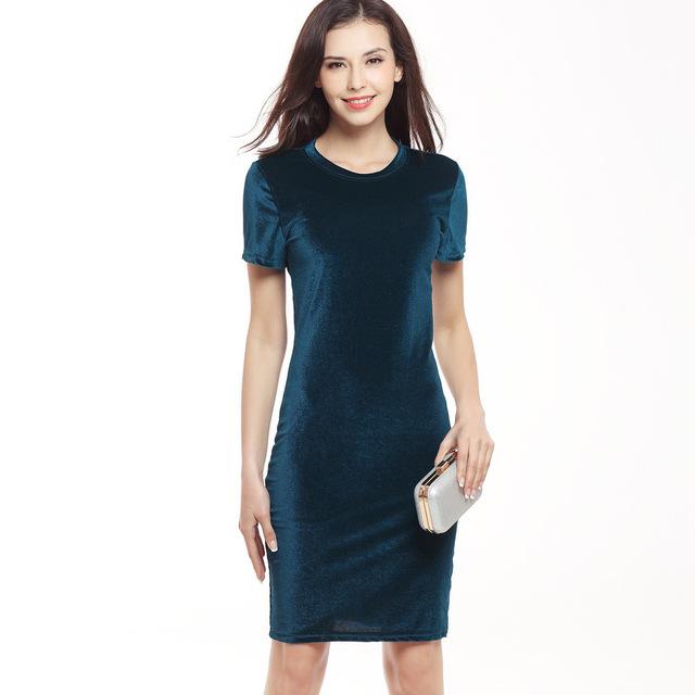 VITIANA Brand Women Velvet Sheath Dress Green Black O-Neck Short Sleeve Slim Pencil Office Work Wear Knee Length Dresses