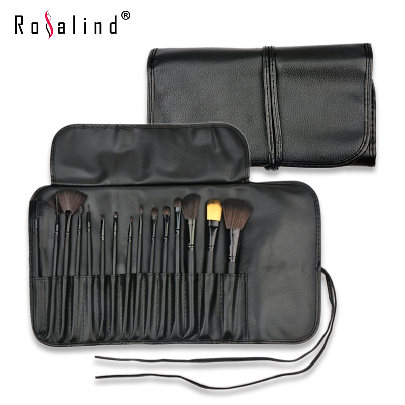 Rosalind New 2015  Makeup 15 Pcs Soft Synthetic Hair Make up tools kit Cosmetic Beauty Makeup Brush Set Case Free Shipping free shipping 15 pcs soft synthetic hair make up tools kit cosmetic beauty makeup brush black sets with leather case