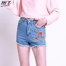 ME Women Embroidery Casual Shorts Jeans High Waist Denim Fringed Shorts Female Bottom
