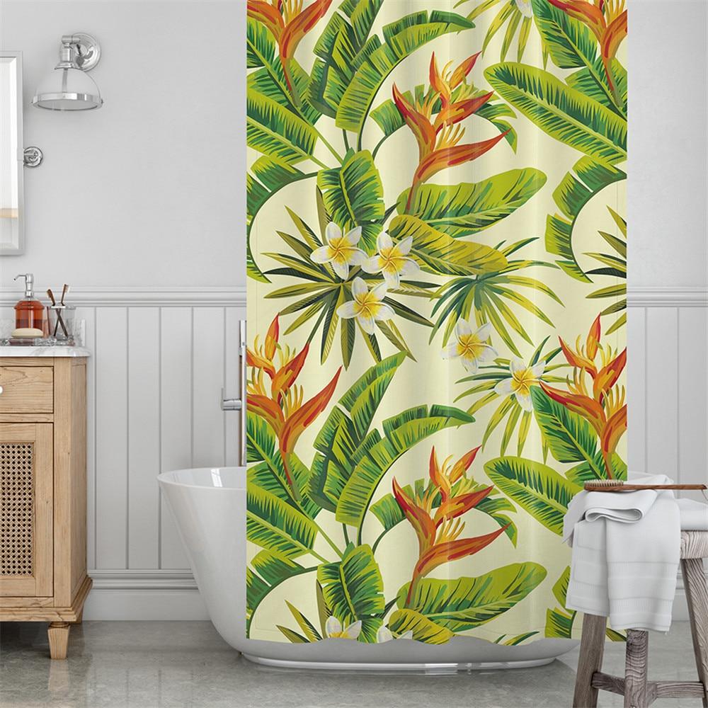 plant printed pattern bathroom curtain