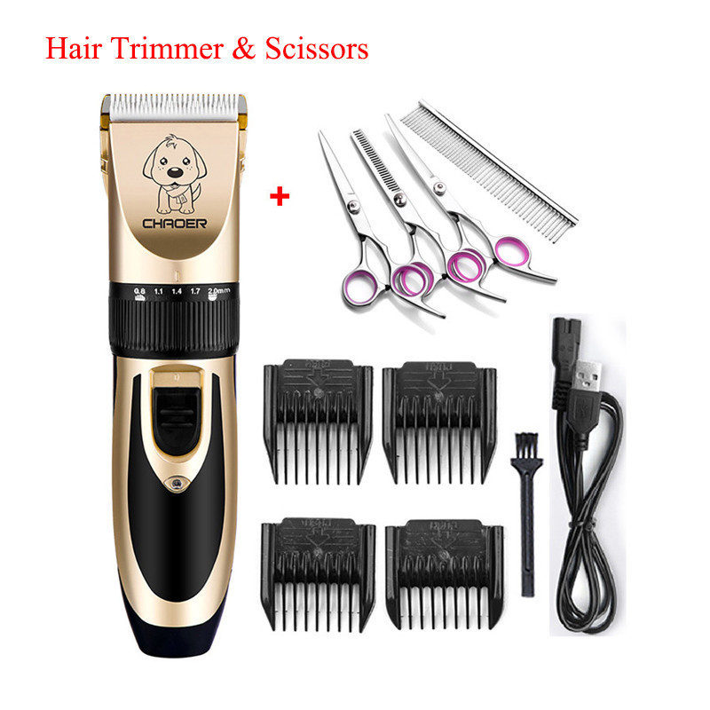 Professional Pet Hair Trimmer Electric Rechargeable Cat Dog Clippers Grooming Low-noise Machine Shaver Scissors Haircutter