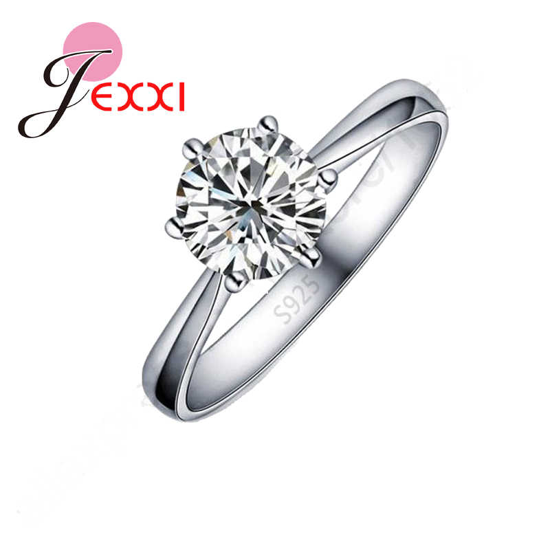 Hot One PC Classic Real Pure 925 Sterling Silver Jewelry Crystal Cubic Zirconia CZ 6 Claws Women Finger Rings Nice Gift
