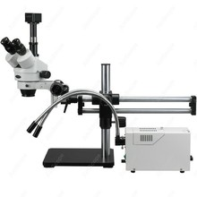 Ball Bearing Stereo Microscope–AmScope Supplies 3.5X-180X Ball Bearing Stereo Microscope w/ Fiber Optic Y- Lights + 9MP Camera