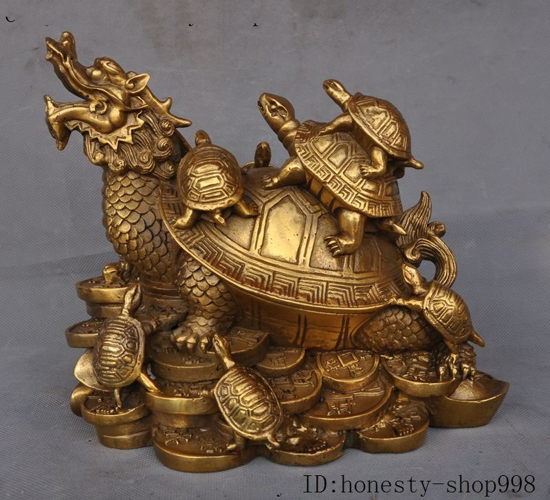 Crafts statue Chinese fengshui Brass wealth Yuanbao money dragon turtle Tortoise animal statueCrafts statue Chinese fengshui Brass wealth Yuanbao money dragon turtle Tortoise animal statue