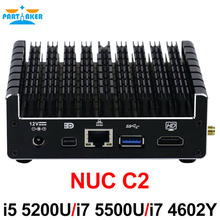 NUC безвентиляторный Мини-ПК Промышленные ПК с Core i5 5200U Core i7 4602Y Core i7 5500U