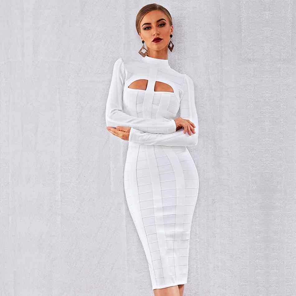Новейшее облегающее для вечеринки со знаменитостями Бандажное Платье женское белое с длинным рукавом с круглым вырезом Открытое сексуальное платье для ночного клуба женское платье Vestidos
