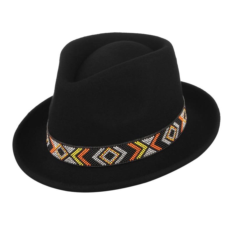 900dd321c85a0 Fashion Fedoras Wool Felt Hat Classical Jazz Cap for Men Women Rhinestone  Belt Decor Narrow Curved Brim Hat Top Hat With Box