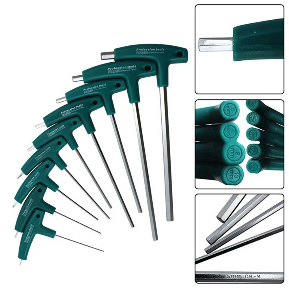цена New Hex Socket Screwdriver H1.5mm-10mm 5mm T-Handle Wrench Allen Screws Tools WWO66