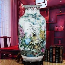ceramics antique Fencai peace map landing large Chinese style living room decoration decoration Home Furnishing vase