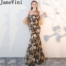 JaneVini 2018 Mermaid Long Bridesmaid Dresses with Sequins Embroidery Flower Shape Backless Tulle Maid Of Honor Dress Prom Wear(China)
