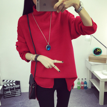 Women Sweaters Semi High Collar Hedging Loose Knit Long-sleeved Sweater Grey White Black Red Camel As1609