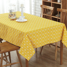 Cotton Plaid Table Cloth White Black Grey Yellow Table Cover Restaurant Dinning Room Decoratioin Fabric