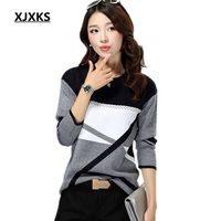 XJXKS New 2019 women sweaters and pullovers; round neck long sleeved sweater pullover for lady; geometric knitted sweater