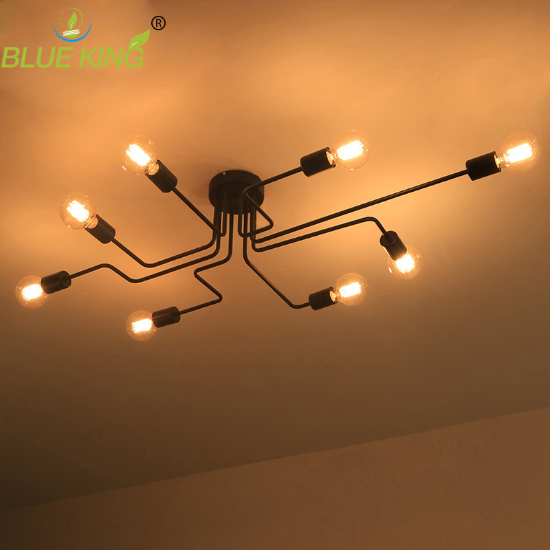 4/6/8 heads Multiple rod Wrought iron ceiling dome lamp creative personality retro nostalgia cafe bar industrial ceiling light кухонный смеситель omoikiri kyoto pvd o oky orb 35